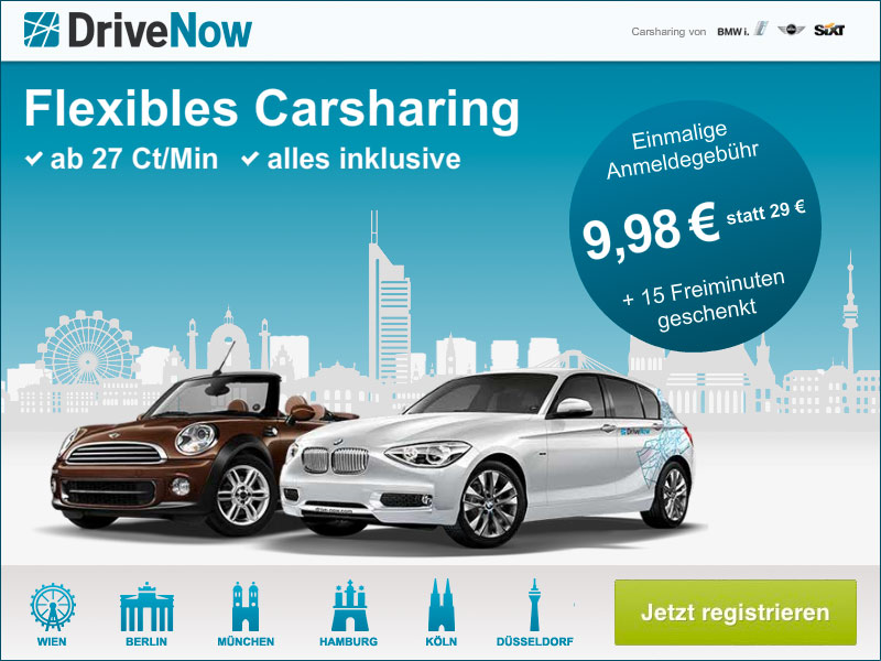 DriveNow Wien für 9,98 Euro anmelden und 15 Freiminuten kassieren