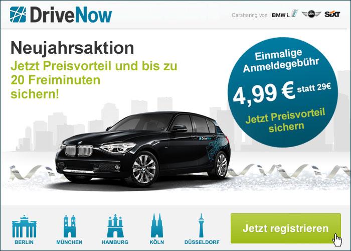 DriveNow Neujahrs-Gutschein